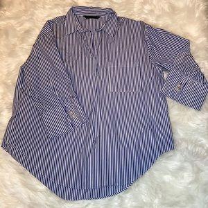 Zara white blue striped button down top blouse
